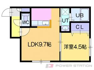 ドライエポック東野幌:2号室タイプ(1LDK)