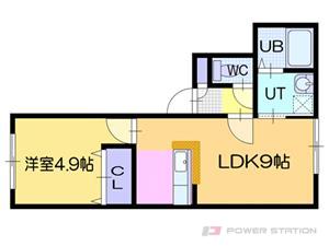 ドライエポック東野幌:3号室タイプ(1LDK)