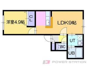 ドライエポック東野幌:5号室タイプ(1LDK)