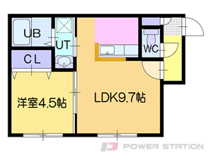 ドライエポック東野幌:6号室タイプ(1LDK)