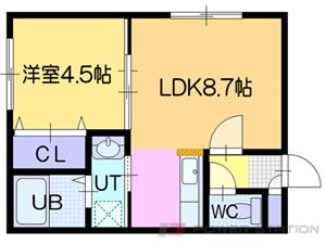 ドライエポック東野幌:7号室タイプ(1LDK)