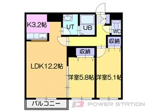 野幌2LDKマンション図面