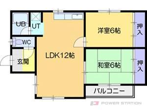 江別市緑町東3丁目1一戸建貸家間取図面