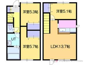 江別市緑町西2丁目0一戸建貸家間取図面