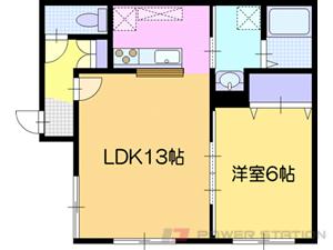 江別市緑町東1丁目1賃貸アパート間取図面