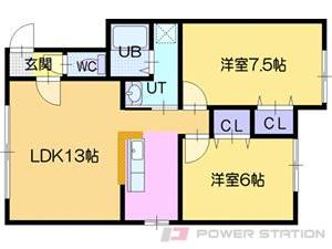 江別市野幌東町0賃貸アパート間取図面