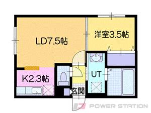 野幌1DKマンション図面