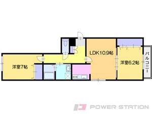 江別市文京台東町1賃貸マンション間取図面