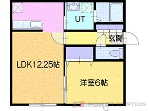 江別1LDKアパート図面
