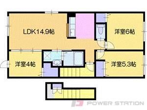 江別市緑ヶ丘01賃貸アパート間取図面