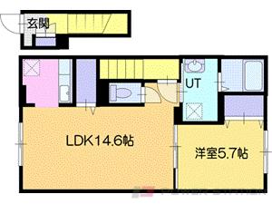 江別市緑町東2丁目01賃貸アパート間取図面