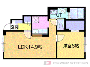 余市1LDKアパート図面