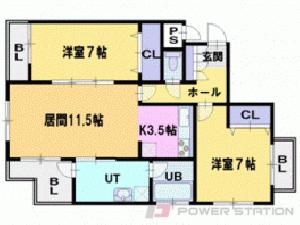 札幌市東区北22条東1丁目0賃貸マンション間取図面
