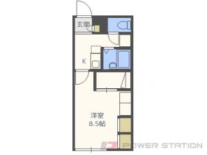 札幌1Kアパート図面