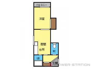 東区役所前1DKマンション図面