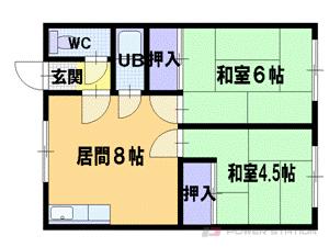 札幌市東区東苗穂1条1丁目0賃貸アパート間取図面