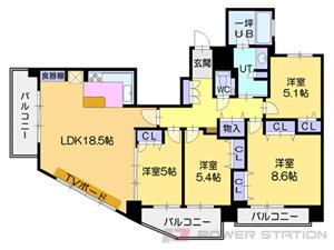 札幌市東区北26条東16丁目1分譲リースマンション間取図面