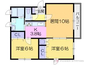 新道東2LDKアパート図面