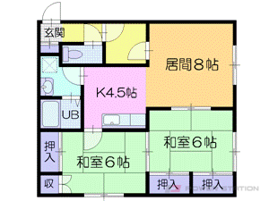 元町2LDKアパート図面