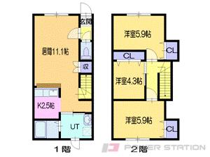 札幌市東区東苗穂12条1丁目0テラスハウス間取図面