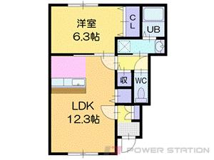 さっぽろ1LDKアパート図面