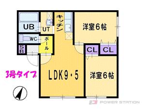 北34条2LDKアパート図面