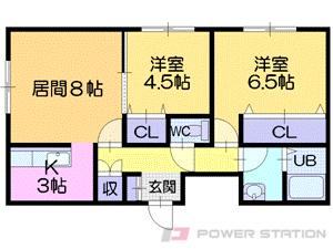 札幌市東区東雁来9条1丁目0賃貸アパート間取図面