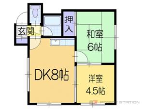 札幌市東区北33条東12丁目0賃貸マンション間取図面