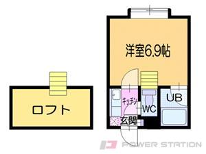 新道東1Kアパート図面
