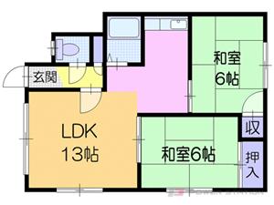 札幌市東区北34条東25丁目0賃貸アパート間取図面