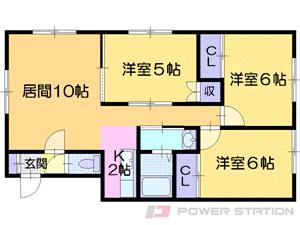 札幌市東区北34条東27丁目0賃貸アパート間取図面