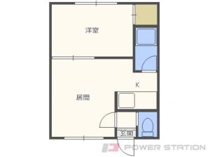 新道東1DKアパート図面
