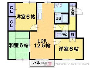 札幌市東区東苗穂13条3丁目0賃貸アパート間取図面