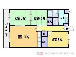 札幌市東区北41条東1丁目0賃貸マンション間取図面