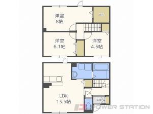 札幌市東区東苗穂10条2丁目0テラスハウス間取図面