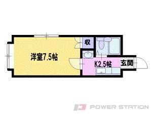 新道東1Kマンション図面