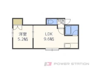 新道東1LDKアパート図面
