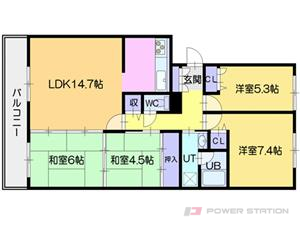 札幌市東区東苗穂14条3丁目0分譲リースマンション間取図面