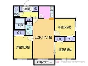 札幌市東区北42条東13丁目0賃貸マンション間取図面