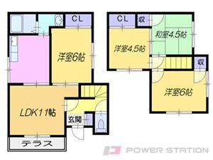 札幌市東区北44条東12丁目0一戸建貸家間取図面