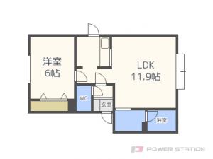 栄町1LDKアパート図面