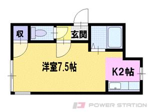 札幌市東区中沼西2条2丁目0賃貸アパート間取図面