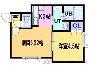 札幌市東区北36条東18丁目0賃貸アパート間取図面