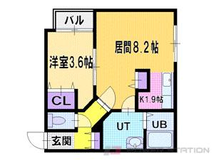 札幌市東区北38条東16丁目1賃貸マンション間取図面