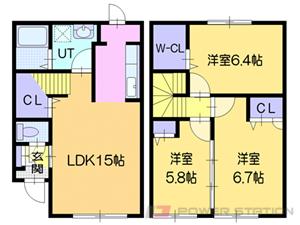 札幌市東区北丘珠5条3丁目1テラスハウス間取図面