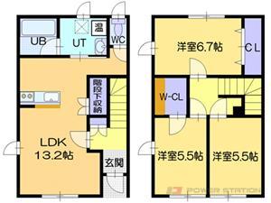 札幌市東区東雁来11条2丁目0テラスハウス間取図面