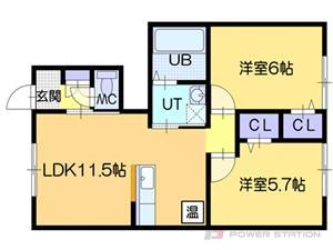 札幌市東区北46条東2丁目0賃貸アパート間取図面