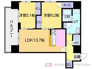 北24条2LDKマンション図面