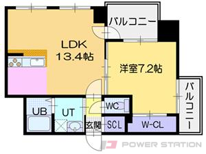 北24条1LDKマンション図面