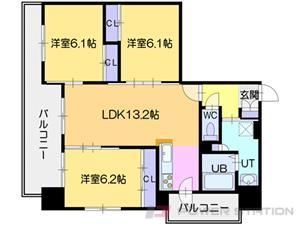 北24条3LDKマンション図面
